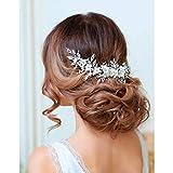 Catery Flower Bride Wedding Headband Pearl Rhinestones Hair Vine Braid Babys Breath Headpiece Bridal Hair Accessories for Women and Girls (Rose Gold)