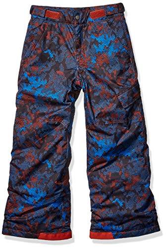 Columbia Boys' Kids Ice Slope II Pant, Carnelian red Continents camo, Medium