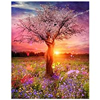 Anti Stress Paint by Numbers Kit Woman with Umbrella Painting for Adults Beginner (Unframed, Woman Tree)