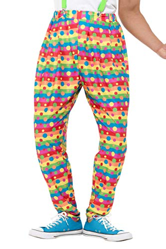 Smiffys 47190M Trousers Clown-Hose, neon, M - Size 38
