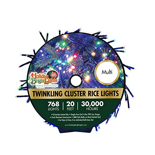 Holiday Bright Lights Christmas 768L Twinkling Cluster Rice Light Reel – Multicolor