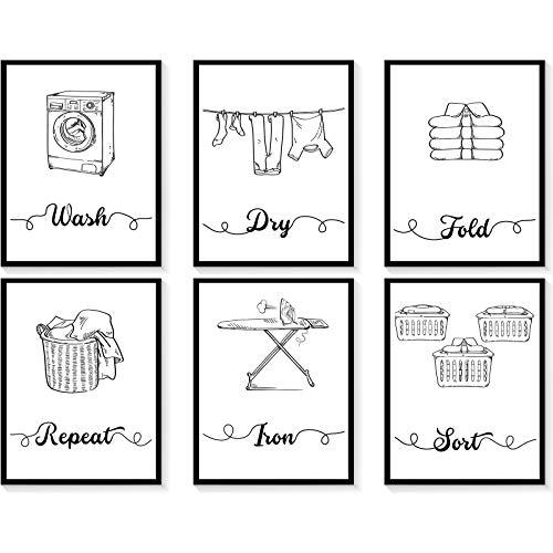6 Carteles Impresiones de Arte de Pared de Lavandería sin Marco Pintura Minimalista Moderna de Citas de Lavandería Póster de Arte de Pared de Wash Dry Fold Repeat, 8 x 10 Pulgadas, 6 Estilos