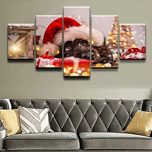 GYSS 5 Pieces Hond Hoed Picture Canvas Prints Paintings Bedroom Decor Abstract Animal Cute Poster Wall Art 5 panel 5 schilderij Afbeelding