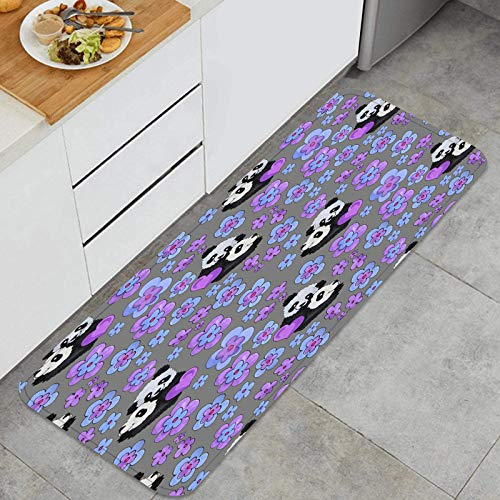 PUIO Juegos de alfombras de Cocina Multiusos,Fondo Tropical Hojas de Palmera Transparente Floral,Alfombrillas cómodas para Uso en el Piso de Cocina súper absorbentes y Antideslizantes