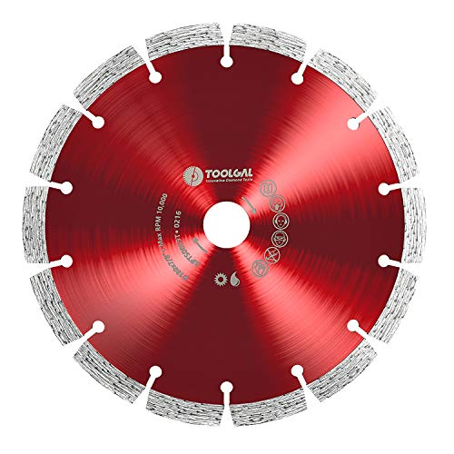 "TOOLGAL Diamond Blade 7' for Masonry - Wet and Dry Cutting of Concrete/Tiles/Stone - ⅞"" Arbor fit to Angle Grinders, Circular Saws, Masonry Saws, Tilesaw and Cutoff Cutters"