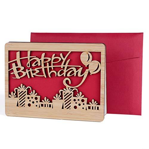 Geburtstagskarte, Adowes Bambusholz Grußkarte Geschenk für Ihre Verwandten, Freunde und Liebhaber Special Geschenkidee, Umschlag enthalten (Happy Birthday)