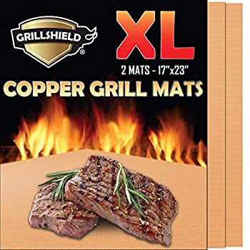 GrillShield - 2 Extra Large Copper Grill and Bake Mats - Best Gift - 17 X 23 inches Non Stick Mats for BBQ Grilling & Baking Reusable and Easy to Clean