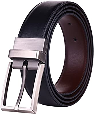"Beltox Fine Men's Dress Belt Leather Reversible 1.25"" Wide Rotated Buckle Gift Box … (Black/Brown,36-38) …"