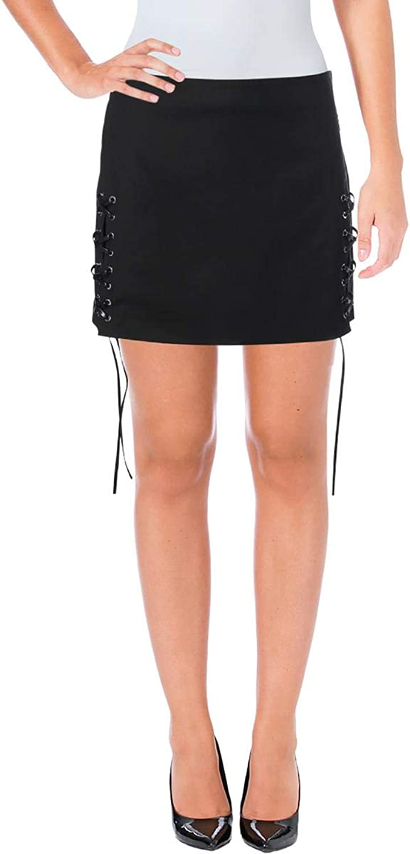 Helmut Lang Womens LaceUp Night Out Mini Skirt