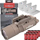 SureFire X300 Ultra X300U-B High Output 1000 Lumen LED Weapon Lightwith 12 Extra CR123A Batteries and 3 Lightjunction Battery Cases