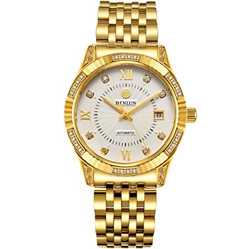 BINLUN Herrenarmbanduhr 18 Karat vergoldeter Chronograph mit Datumsanzeige wasserdicht Geschenk für Pater Boyfriend