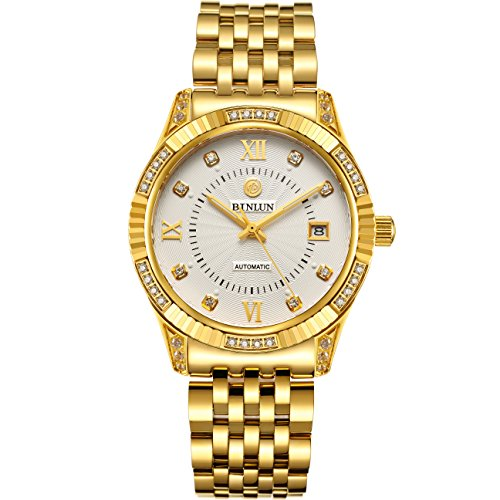 BINLUN 18 K Chapado en Oro de Relojes para Hombres Impermeable Lujo Vestido Reloj de Pulsera con Fecha Regalo de San Valentín