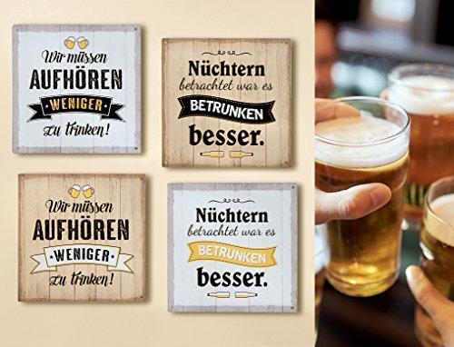 GILDE 1 x Schild Weisheit Bier Hellbraun Spruch: Wir müssen aufhören weniger zu Trinken, Höhe 19 cm, Wanddeko (Wir müssen aufhören (Hellbraun))