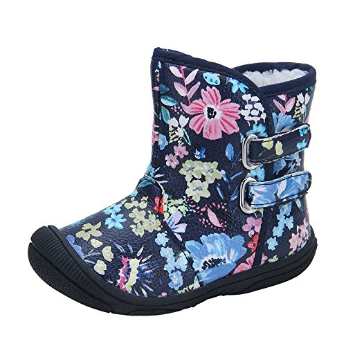 Kuner Baby Girls Pu Leather Faux Fleece Rubber Soles Outdoor Warm Snow Boots (13.5cm(12-18months), Black Flowers)
