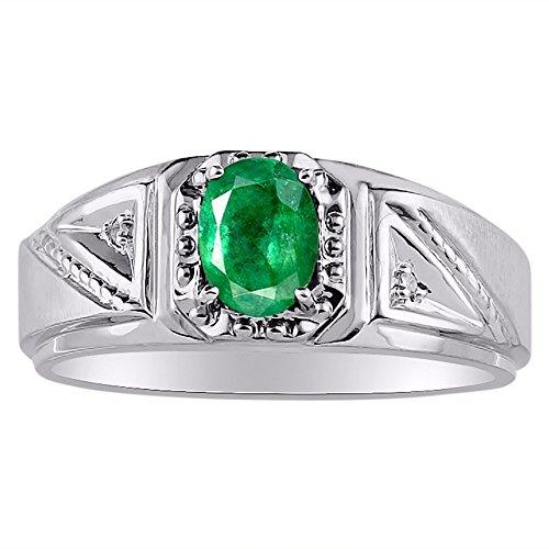 RYLOS Anillos para hombre de oro blanco de 14 quilates, anillo de diamante y esmeralda de 7 x 5 mm, anillos de piedras preciosas de color para hombres, joyas de oro