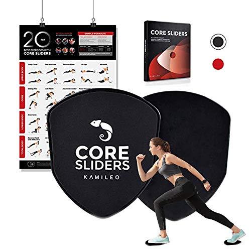 Kamileo Gymnastikgleiter, Peltat-Stärke, Fitnessstudio, Bauch- und Ganzkörpertraining-Ausrüstung, Core Gleitscheiben mit Poster und E-Book, schwarz