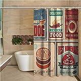 Cortina de Ducha Blanca Carteles de Chapa Retro nostálgicos e Impresiones de Comida Mexicana Logotipo publicitario Envejecido Estilo Diseño artístico Multi