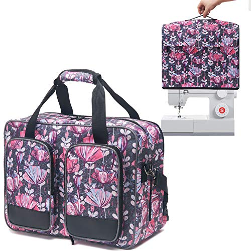 VOSDANS Travel Sewing Machine Bag with a Cover, Travel Carrying Case with Removable Bottom Padding Pad for Most Standard Singer, Brother, Janome Sewing Machine, Flower (Bag and Cover Only)