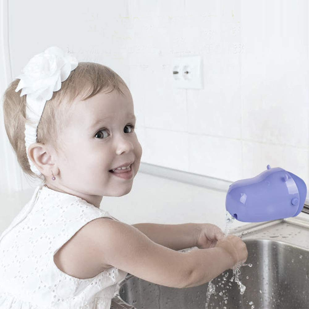 Faucet Extender Toddlers Faucet Cover, Hippo Design Safety Faucet Extender for Children Toddler Kids Hand Washing Baby Kids Hand Wash Helper Bathroom (Purple)