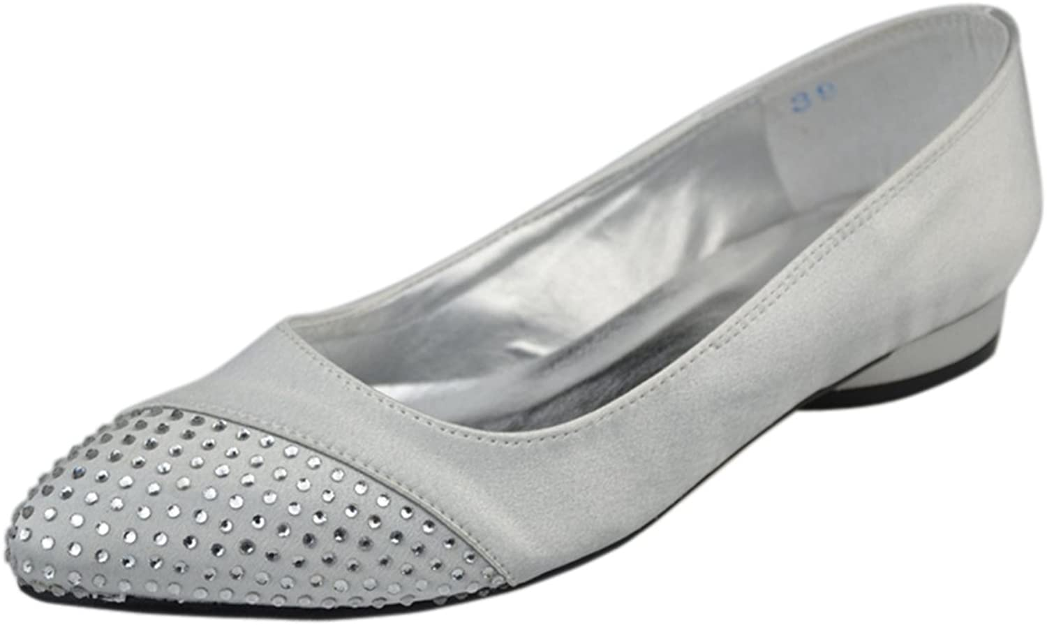 Minitoo GYAYL304 Womens Low Heel Open Toe Satin Evening Party Bridal Wedding Sparkle Ballet shoes