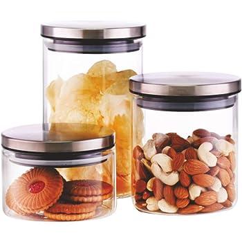 Borosil Classic Glass Jar for Kitchen Storage, Set of 3, (300ml + 600ml + 900ml)