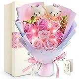 FAUHAL LEDつきのバラ ソープフラワー ベア 枯れない花 石鹸花 バラ 敬老の日 プレゼント 花束ぬいぐるみ(ベア2匹、ローズ8輪) 造花 花束くま束 ブーケ 创意プレゼント結婚式 記念日 お盆 教師の日 デートお礼用 お子さんに バレンタインデー 昇進 転居など最適としてのギフト メッセージカード付き(赤い、青い、パープル、ピンク) (ピンク)