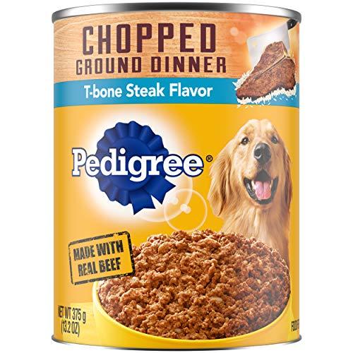 PEDIGREE Adult Canned Wet Dog Food Chopped Ground Dinner T-Bone Steak Flavor, (12) 13.2 oz. Cans