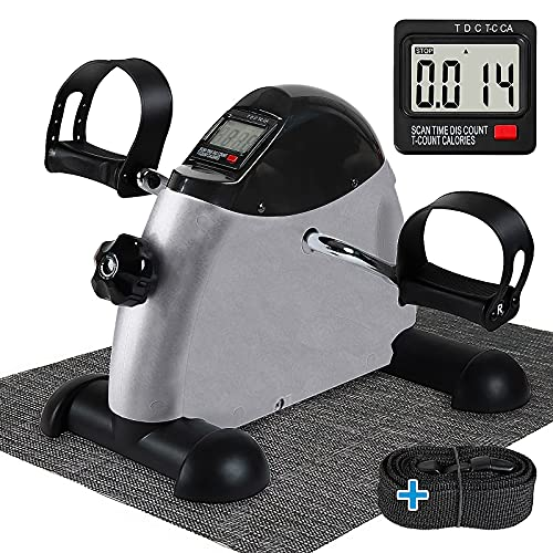 Under Desk Bike Pedal Exerciser - TABEKE Mini Exercise Bike for Arm/Leg Exercise, Pedal Exerciser for Seniors with LCD Display Silver Grey thumbnail image
