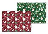 SPUM Tovagliette di carta (confezione da 50 pezzi), formato DIN A3 (42 x 29,7 centimetri), tovagliette usa e getta antiscivolo, doppio disegno natalizio