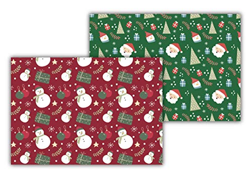 SPUM Manteles Individuales de Papel [Paquete de 50 Unidades] Tamaño DIN A3 (42 x 29,7 centímetros). Salvamantel Desechable. Doble diseño de Navidad