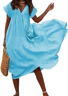 Yisism Women V Neck Short Sleeve Summer Plus Size Loose Beach Long Maxi Dress