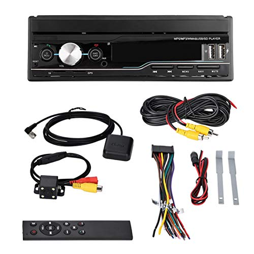 Estéreo multimedia para automóvil de 7 pulgadas, reproductor de video retráctil para automóvil Navegación GPS Reproductor de MP3 MP5 Reproductor de radio con pantalla táctil, Receptor de radio AM/FM