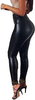 Women Imitation Leather Pants Lace-up Buttocks Slim Nine-Minute Leggings
