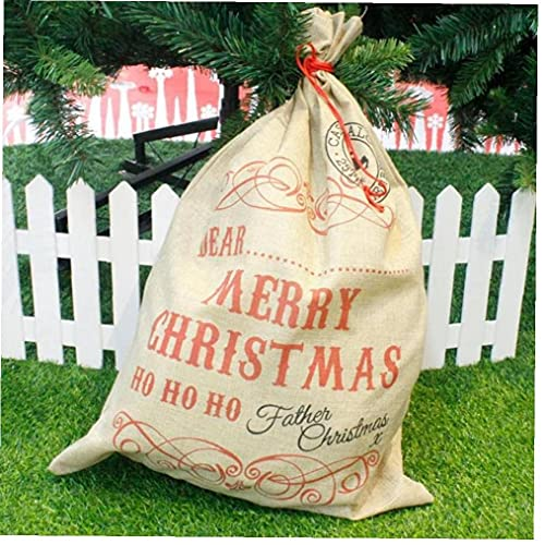 Bolso de regalo de lino de la Feliz Navidad de gran tamaño 2019 Santa Claus sacos con cordón Bolsa de caramelo Natal Natal Noel Año Nuevo Navidad Decoración para el hogar Bolsa de regalo