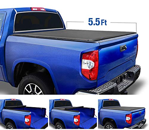 Tyger Auto Black T1 Soft Roll Up Truck Tonneau Cover for 2014-2020 Toyota Tundra Fleetside 5.5' Bed TG-BC1T9041