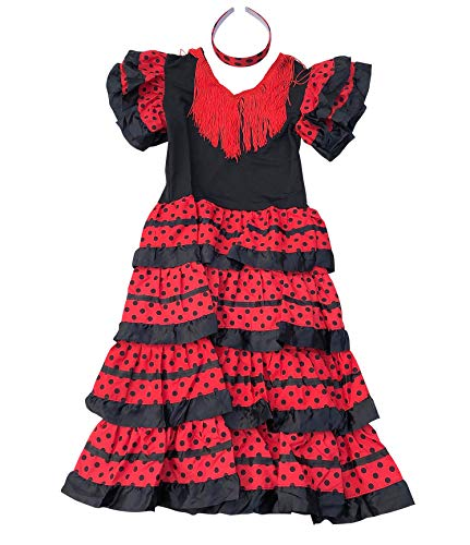 La Senorita ® Spanische Flamenco Kleid/Kostüm - für Mädchen/Kinder - Schwarz/Rot (Größe 128-134 - Länge 85 cm- 7-8 Jahr, Mehrfarbig) mit Gratis Haarreifen