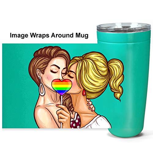 Pop Art Lesbians 20oz Stainless Steel Travel Mug Unique Gift LGBT Travel Mug lesbian travel mug lesbian art tumbler black gay pride gifts