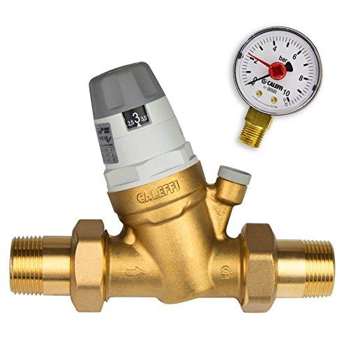 Caleffi Wasserdruckminderer 1/2 Zoll DN15 Druckminderer für Wasser mit Austauschbarer Kartusche und Manometer, Druckminderungsventil, Druckregler 535041, mehrfarbig