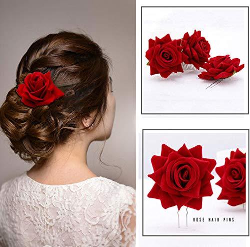 Yean Peigne à cheveux en forme de rose pour danseuse de flamenco (rouge)