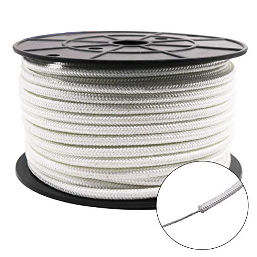 "Amgate Wire Center Flagpole Rope 1/4"" x 100 feet - Braided Polyester Line with Steel Center Marine Grade Flag Pole Halyard Rope"