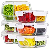 Bayco 6 Pack Glass Meal Prep Containers 2 Compartment, Glass Food Storage Containers with Lids,...