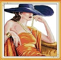 刺繡スターターキット刻印クロスステッチキット初心者簡単で面白いプレプリントパターンを備えたDIY11CT刺繡のためのエレガントな貴族16x20インチ