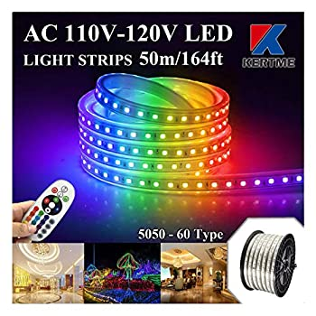 KERTME 5050-60 Type AC 110-120V RGB LED Strip Lights Flexible/Waterproof/Dimmable/Multi-Colors/Multi-Modes LED Rope Light + 24 Keys Remote for Home/Garden/Building Decoration  164ft/50m RGB