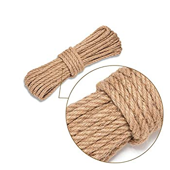 AXIESO Jute Rope 50 Feet 10mm - Heavy Duty Twine Rope for Crafts - Decorative Thick Natural Craft Hemp Rope - Garden Jute String for Indoor and Outdoor Projects - Nautical Style Burlap Cord  3/8 Inch