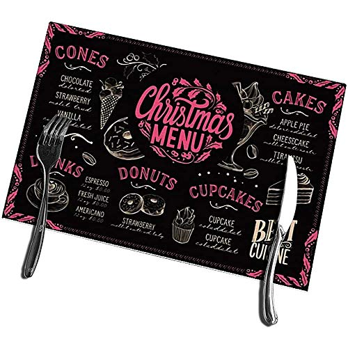 Keuken tafelmatten set van 6 kerstmenu sjabloon voor dessert restaurant en cafe on blackboard vlekbestendige placemats 12X18IN