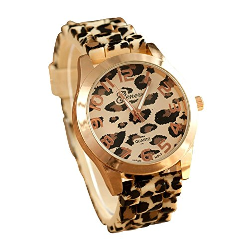 Fanmis Unisex Geneva Leopard Silicone Jelly Gel Quartz Analog Wrist Watch (Gold)