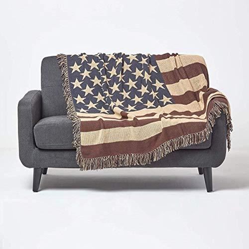 Homescapes handgewobener Überwurf Flagge Amerika 125 x 150 cm 100prozent reine Baumwolle – USA Stars und Stripes Jacquard Sofaüberwurf Sesselüberwurf Decke mit Fransen