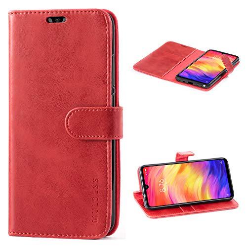 Mulbess Handyhülle für Xiaomi Redmi Note 7 Pro Hülle Leder, Xiaomi Redmi Note 7 Pro Handy Hüllen, Vintage Flip Handytasche Schutzhülle für Xiaomi Redmi Note 7 Pro/Note 7 Hülle, Wein Rot