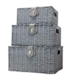Vencier Set of 3 Resin Woven Wicker Storage Basket Box with Lid & Lock, Grey, Large, Medium, Small (Grey)