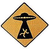 Parche termoadhesivo para la ropa, diseño de Precaución UFO aparece